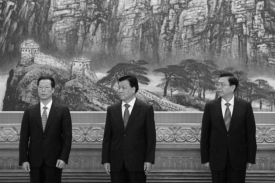 江派人馬張高麗、張德江、劉雲山在中共十九大之後出局,引外界關注。(Lintao Zhang/Getty Images)