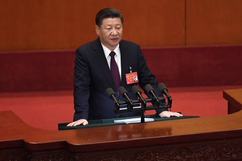 圖為中共「十九大」開幕儀式,習近平做工作報告。(AFP PHOTO / WANG Zhao)