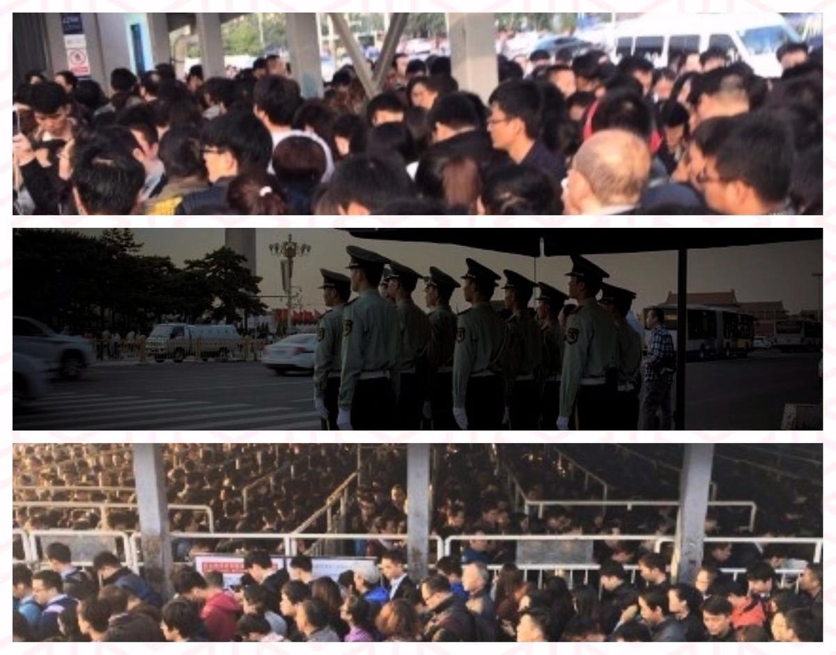 昨天中共「十九大」已結束,但是對北京的「維穩」仍未結束。訪民仍被監控,地鐵仍要檢查身份證,特勤與紅袖箍依舊在馬路上「堅持」;保安、警察和國保依舊馬不停蹄地「工作」。(大紀元合成)