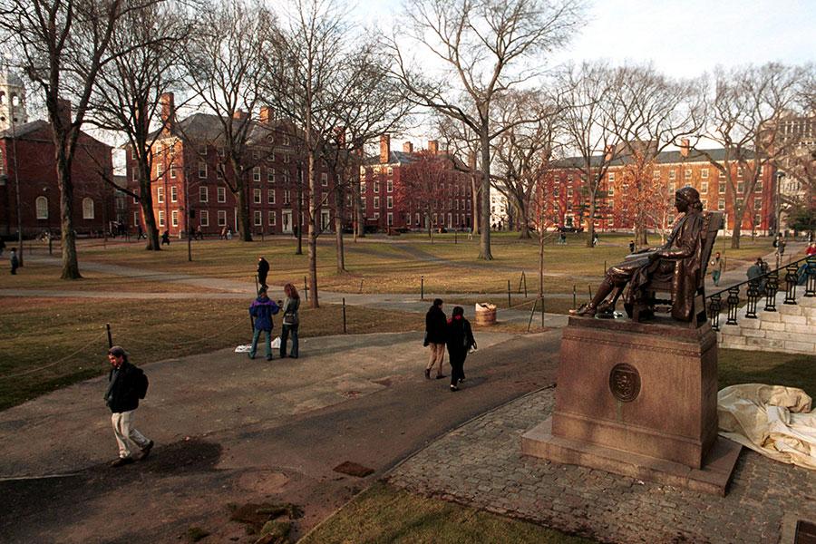 全球最佳大學前十名被美英高校囊括。哈佛大學位居榜首。(Getty Images)