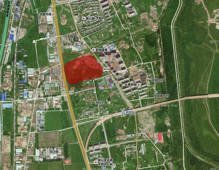 房山區軌道交通稻田站C地塊上市交易拍賣了42.03億人民幣。(微博圖片)