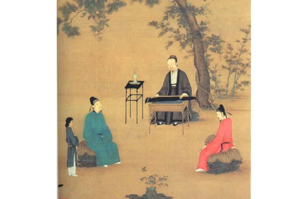 宋徽宗《聽琴圖》局部,右邊紅衣者為蔡京,故宫博物院藏。(公有領域)