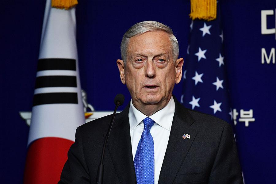 美國防長馬蒂斯(Jim Mattis)表示,北韓核武威脅升級,並向平壤發出嚴厲警告:美國絕不接受北韓擁有核武。(Song Kyung-Seok-Pool/Getty Images)