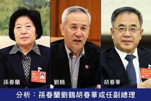 分析:孫春蘭劉鶴胡春華或任副總理