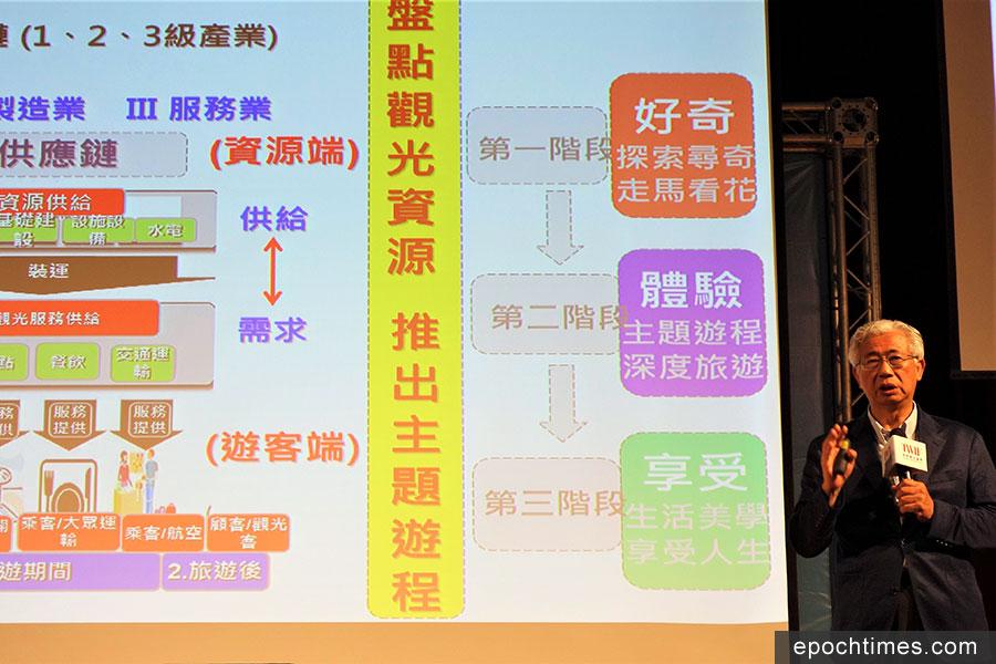 台中市觀旅局長陳盛山(右)提出「主題式」觀光概念,而非僅是固定式景點。(黃玉燕/大紀元)