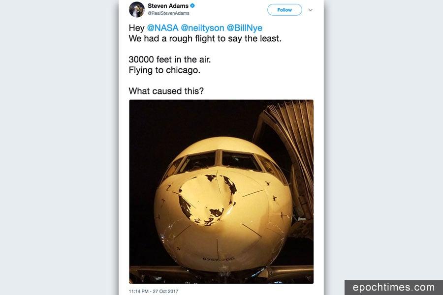 一架從明尼阿波利斯飛往芝加哥的班機,搭載NBA球隊俄克拉何馬城雷霆隊(Oklahoma City Thunder)隊員,星期六(10月28日)一早,飛機在著陸時明顯撞上了鳥,飛機鼻子被撞出一個大坑。(亞當斯推特擷圖)