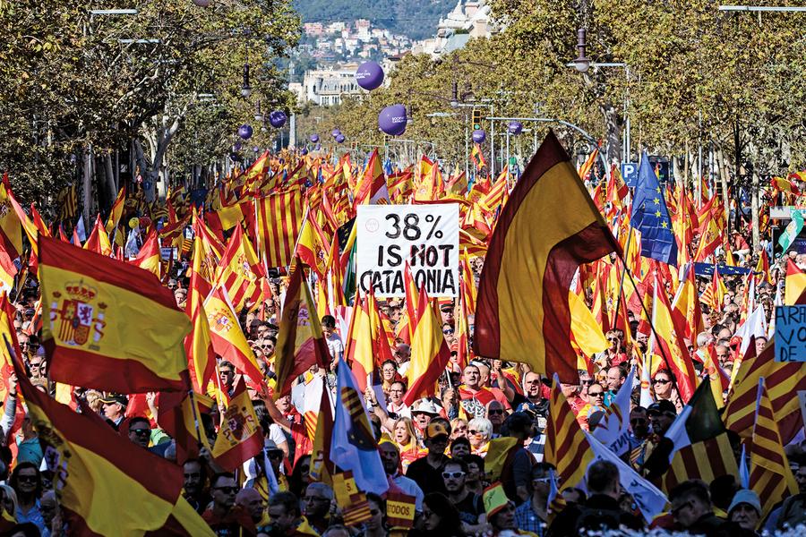 加泰百萬民眾遊行支持統一