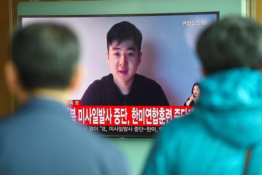 遭暗殺的北韓「廢太子」金正男的兒子金韓松3月8日突然出現在視像網站YouTube上。圖為金韓松。(JUNG YEON-JE/AFP/Getty Images)