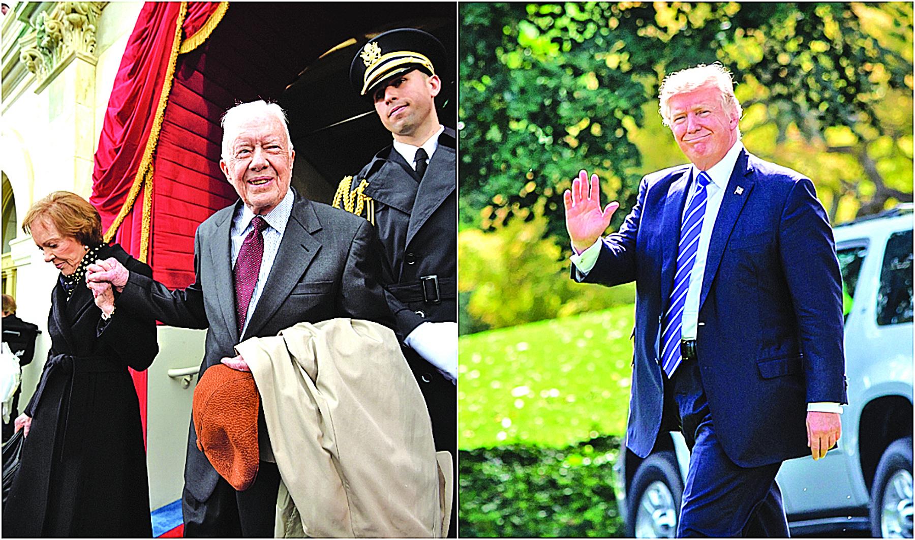 左:前總統卡特和夫人今年1月20日出席特朗普就職典禮。右:特朗普9月26日在白宮。(英文大紀元、Getty Images)