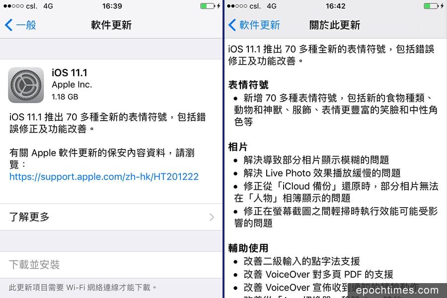 蘋果公司(Apple)11月1日釋出iOS 11.1作業系統更新,可以解決耗電問題,並改善四大類主要功能。(熒幕擷圖)