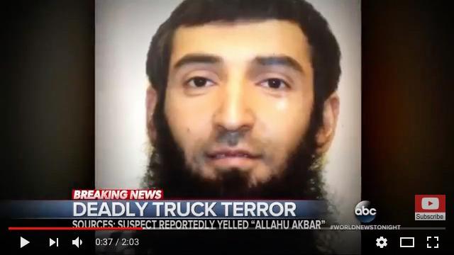 周二(10月31日)在紐約曼哈頓駕車殺人的疑犯,已經被警方確認為29歲的塞弗洛・賽普夫(Sayfullo Saipov),他來自烏茲別克斯坦,持有美國綠卡。(視像擷圖)