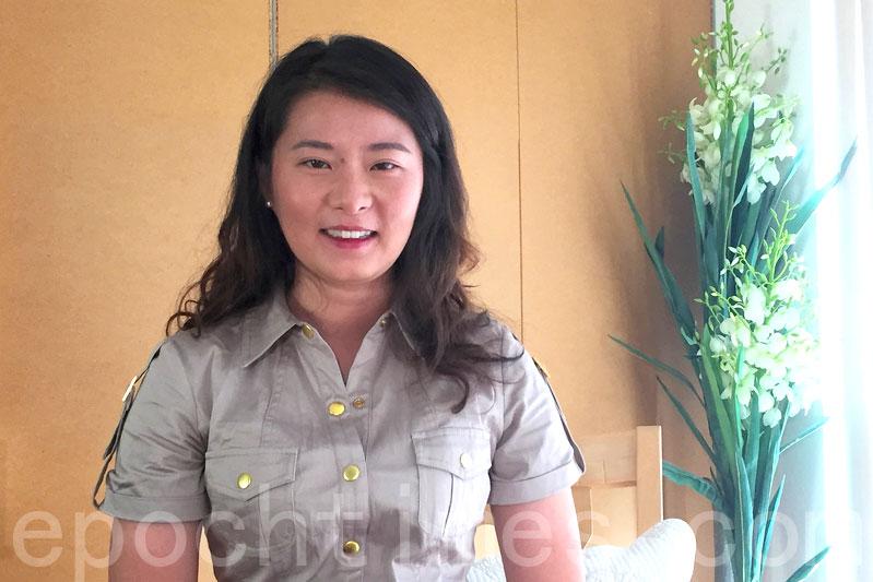 高智晟的女兒耿格在三藩市灣區接受大紀元新唐人聯合採訪。(大紀元)