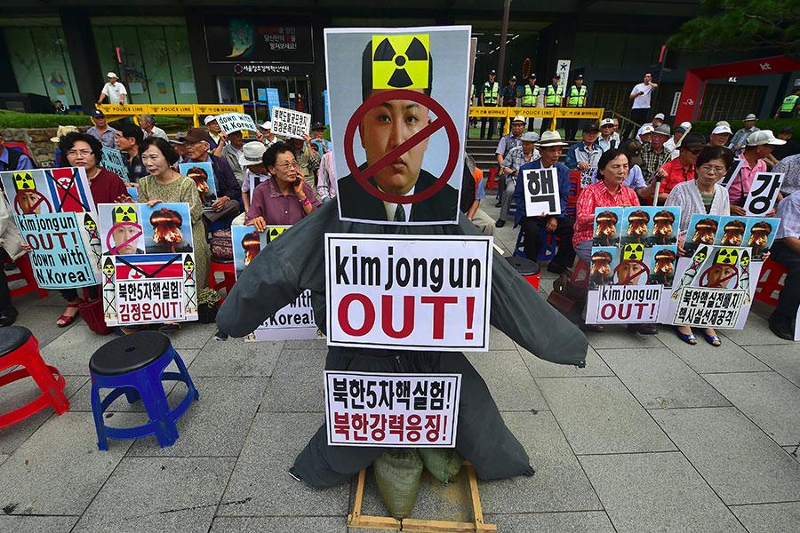 去年9月南韓民眾抗議北韓核試驗。(JUNG YEON-JE/AFP/Getty Images)