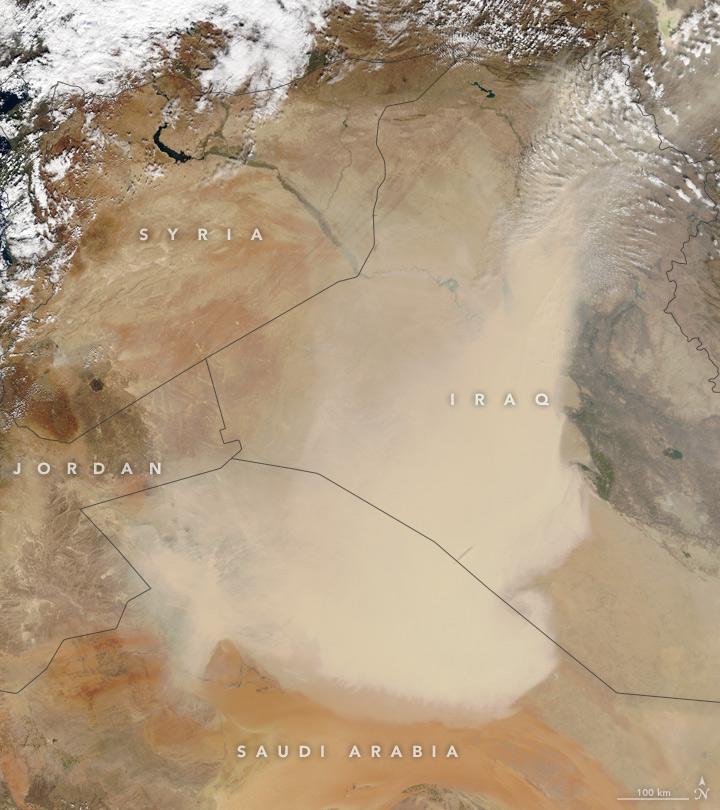 NASA的衛星於10月29日拍到中東地區的沙塵暴。(NASA)