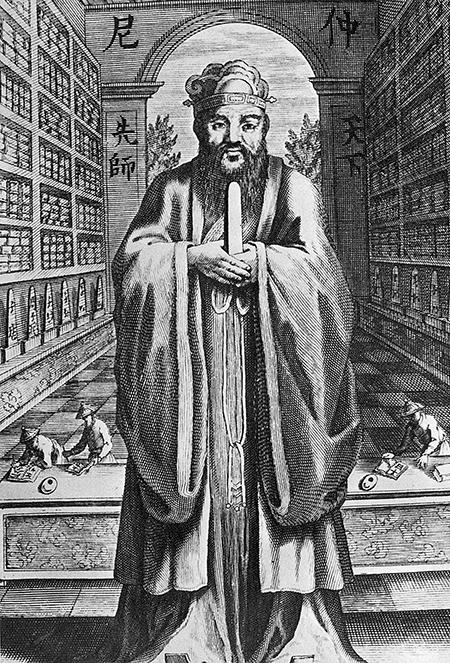 十七世紀,在中國生活了二十七年的傳教士利瑪竇將孔子(圖)的《論語》譯成拉丁文,並於1687年在法國巴黎出版,以後轉譯成其它文字在西方流傳。(Getty Images)