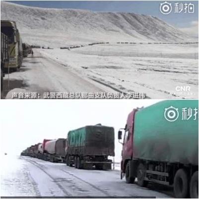 青藏公路降雪困四千司機三日三夜 食雪維生