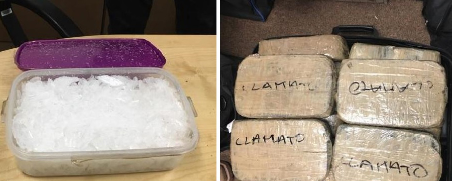 澳、美、墨三國警方聯手的緝毒行動中繳獲的毒品。(新省警方)