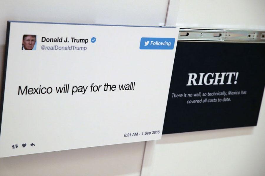 特朗普總統訪華時使用自己獨立的網絡系統。圖為今年10月19日,特朗普總統的推文在公共場合展示。(Getty Images)