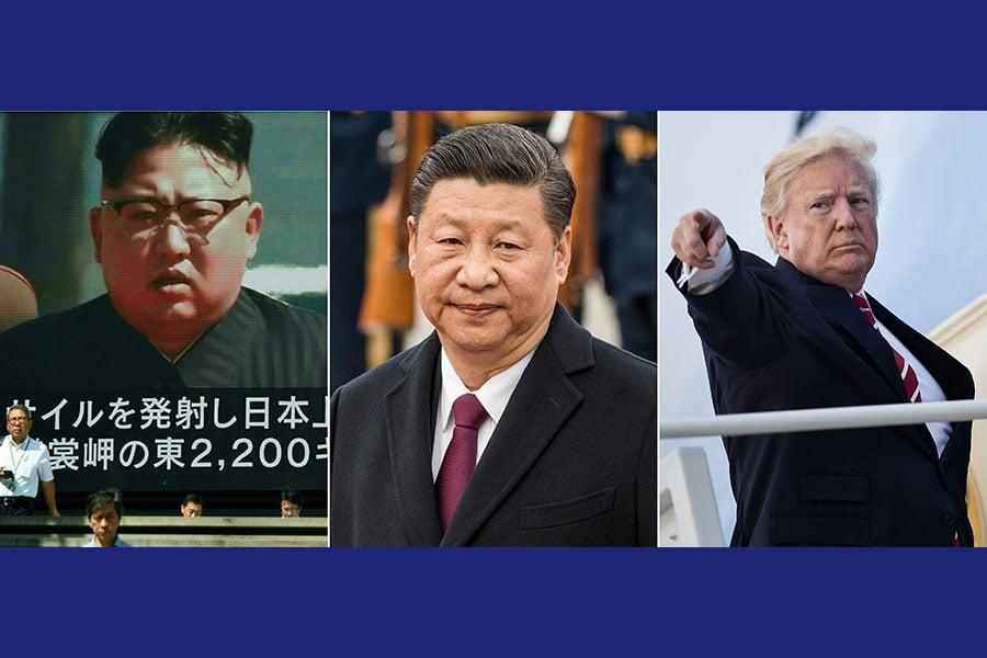 圖為北韓最高領導人金正恩、中國國家主席習近平與美國總統特朗普的合成圖片。(FRED DUFOUR,BRENDAN SMIALOWSKI,TORU YAMANAKA/AFP/Getty Images)