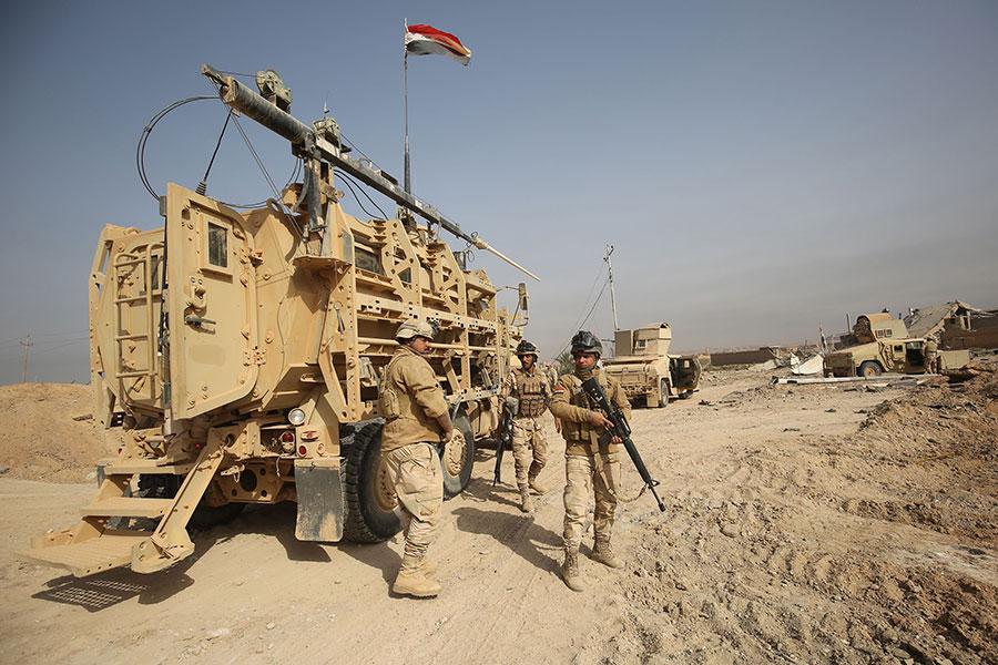 伊拉克總理阿巴迪(Haidar Abadi)宣佈,政府軍佔領了伊拉克邊界城鎮加伊姆(al-Qaim)。(AHMAD AL-RUBAYE/AFP/Getty Images)