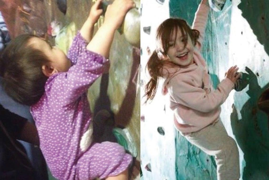 天才! 澳洲女孩不會走就學攀岩,不足歲半時4分鐘就能爬上20米高牆。(Bella Rocks臉書)