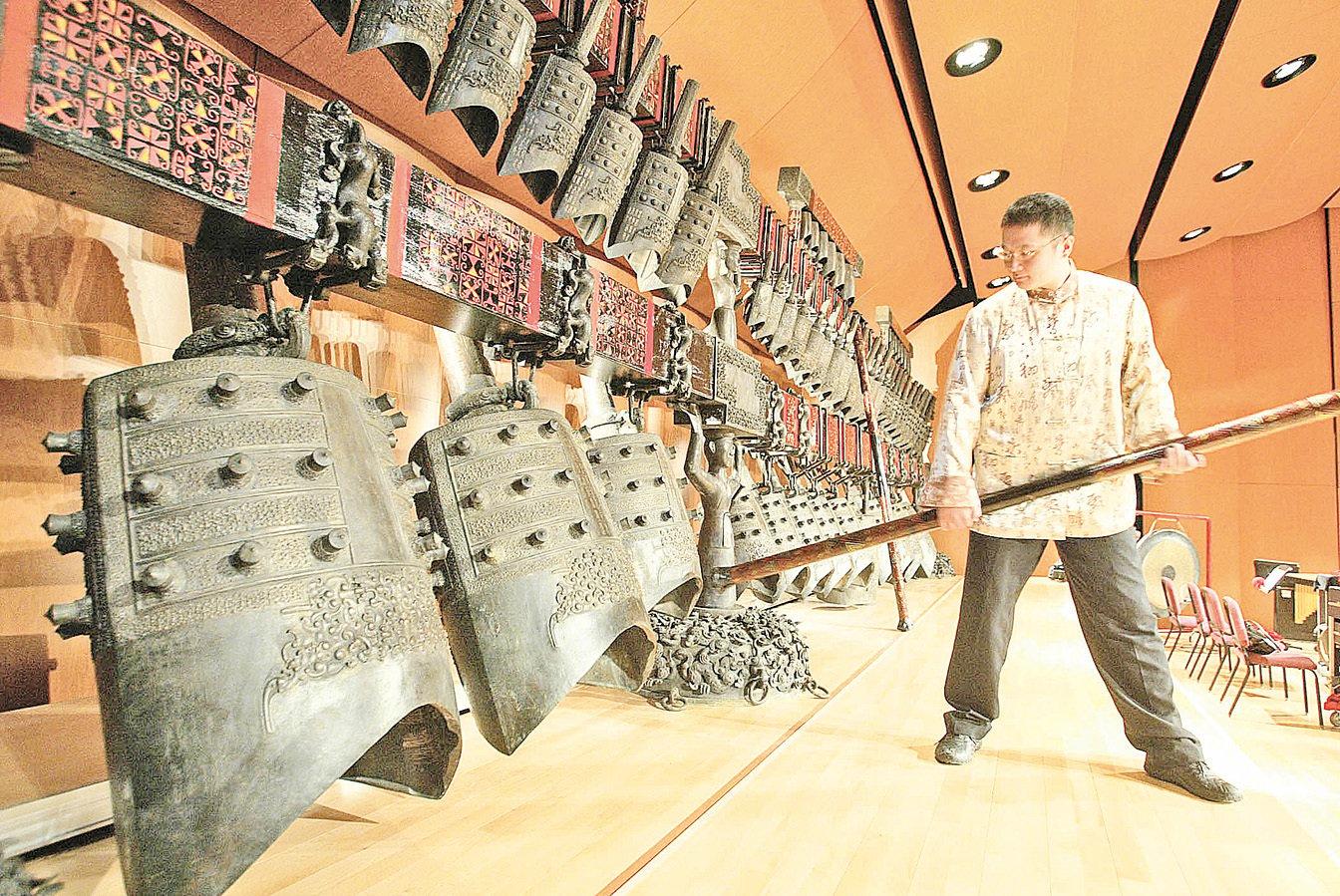 台灣宜蘭傳統藝術中心鎮館之寶,全世界僅有三套的「曾侯乙編鐘」。(中央社)