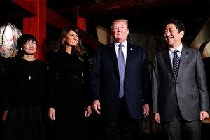 特朗普伉儷出訪日本 首日球敘茶敘