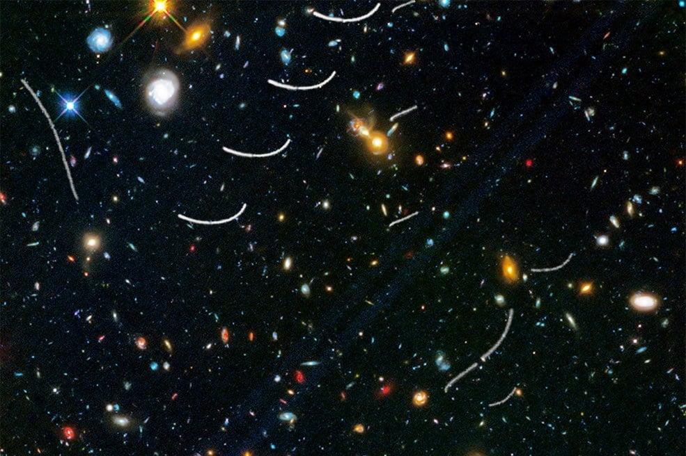 小行星留下的弧形軌跡(哈勃拍攝圖像局部圖)。(來源:NASA, ESA, and B. Sunnquist and J. Mack (STScI))