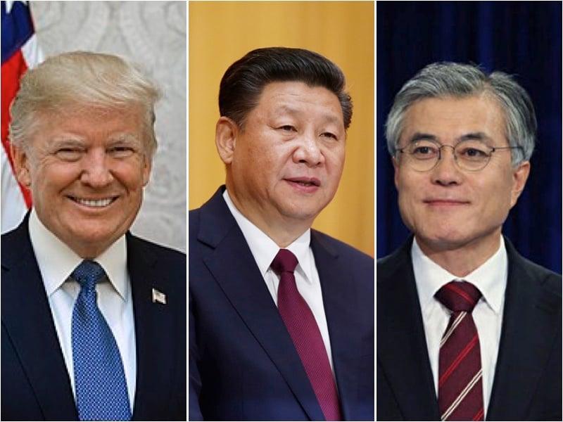 美國總統特朗普展開為期11天的亞洲之旅,由於薩德部署問題,中美韓三邊關係變得更為微妙。從左至右為,美國總統特朗普、中國國家主席習近平、南韓總統文在寅。(大紀元合成圖)