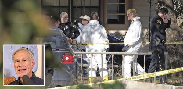 美國得州小鎮周日發生槍擊案,造成26死超過20人傷。(Getty Images)小圖:得州州長艾伯特(Greg Abbott)表示,事件是美國近代史上最嚴重的教堂槍擊案。(Getty Images)