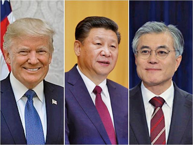 由於薩德部署問題,中美韓三邊關係變得更為微妙。從左至右為,美國總統特朗普、中國國家主席習近平、南韓總統文在寅。(大紀元合成圖)
