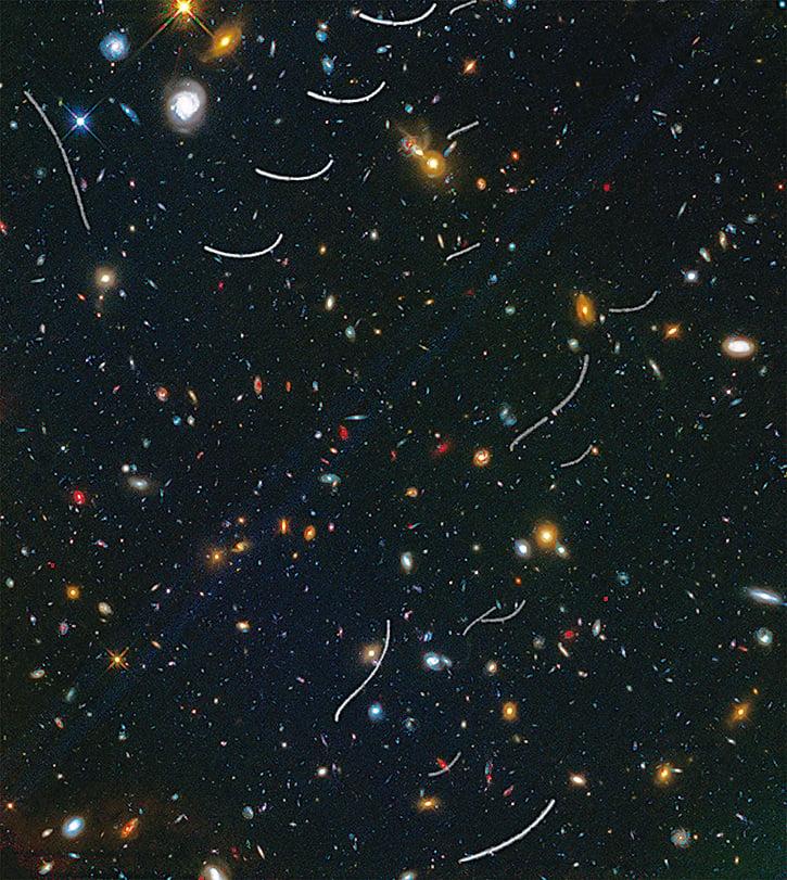小行星留下的弧形軌跡(哈勃拍攝圖像局部圖)。(NASA)