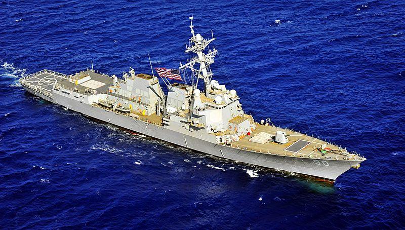 美國海軍的查菲號宙斯盾驅逐艦。(維基百科)