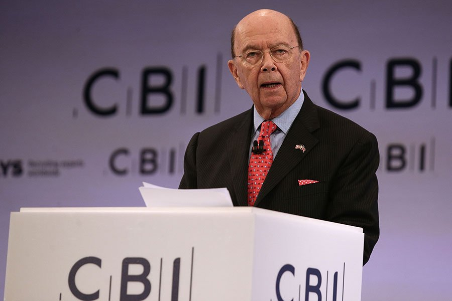 圖為美國商務部長羅斯(Wilbur Ross)。(DANIEL LEAL-OLIVAS/AFP/Getty Images)