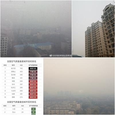 黑龍江多市遭遇陰霾持續污染,其中哈爾濱污染最嚴重。(合成圖片)