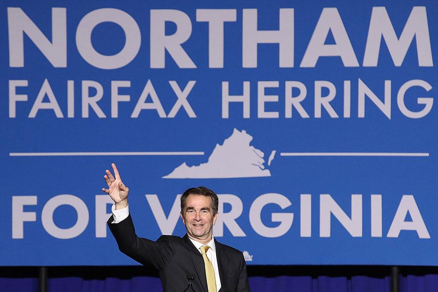 美國維珍尼亞州州長選舉7日晚揭曉,民主黨候選人、現任副州長諾瑟姆(Ralph Northam)勝出,贏得54%的選票。(Win McNamee/Getty Images)