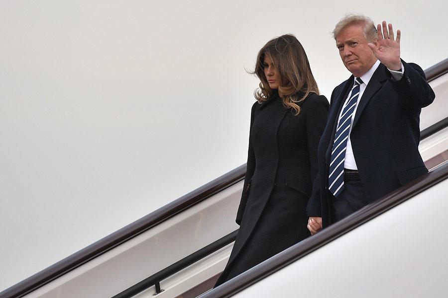 美國總統特朗普11月8日下午抵達北京,對中國展開3天國是訪問。(JIM WATSON/AFP/Getty Images)