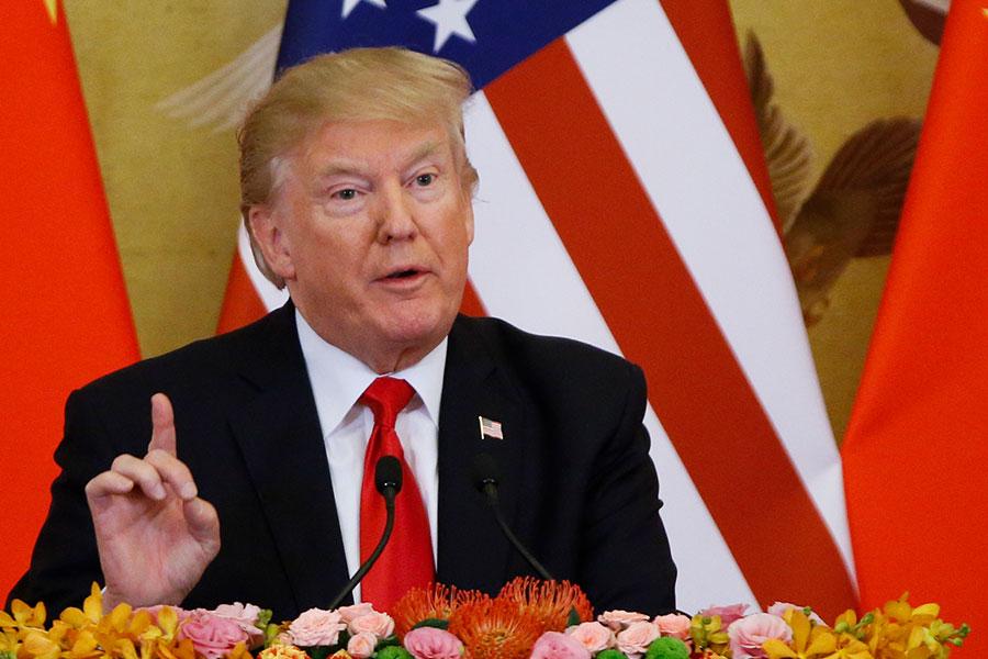 特朗普在記者會上強調,相關國家要停止與北韓的貿易,包括提供武器或資金。(Thomas Peter-Pool/Getty Images)