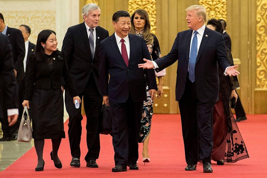 根據蒂勒森的新聞稿,特朗普和習近平除了討論了北韓和貿易外,還提到了人權。(JIM WATSON/AFP/Getty Images)