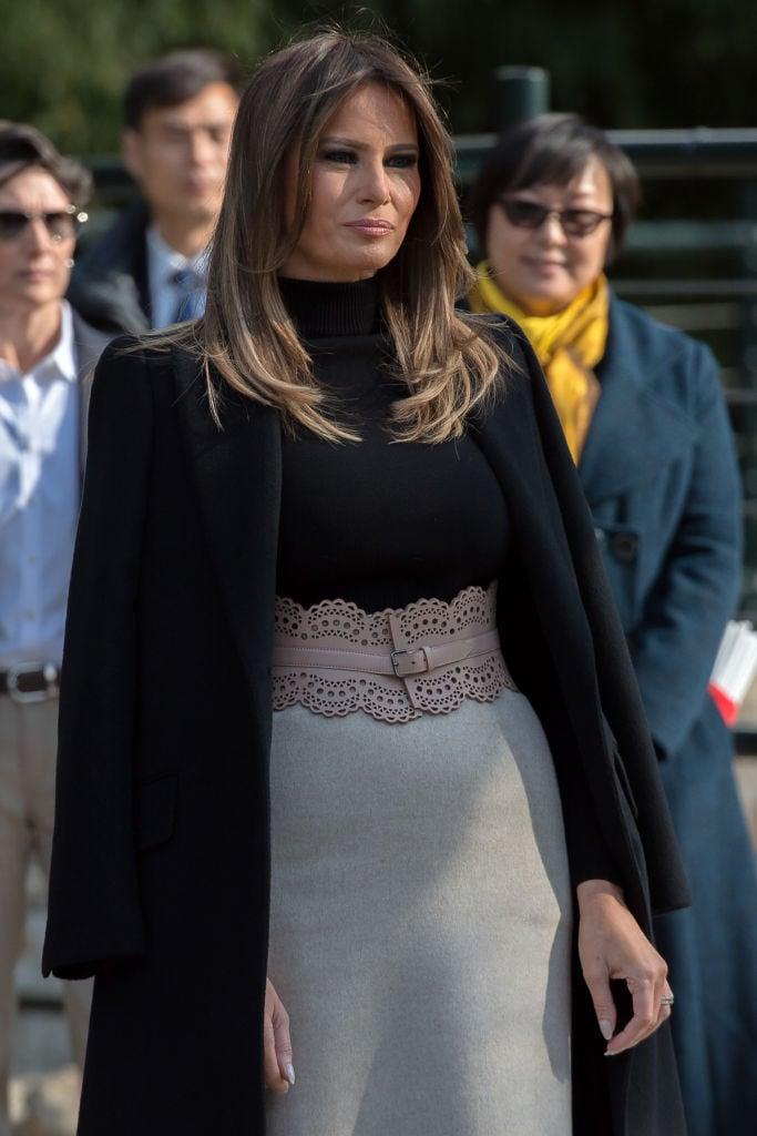 10日上午,梅拉尼婭參觀北京動物園。(NICOLAS ASFOURI/AFP/Getty Images)