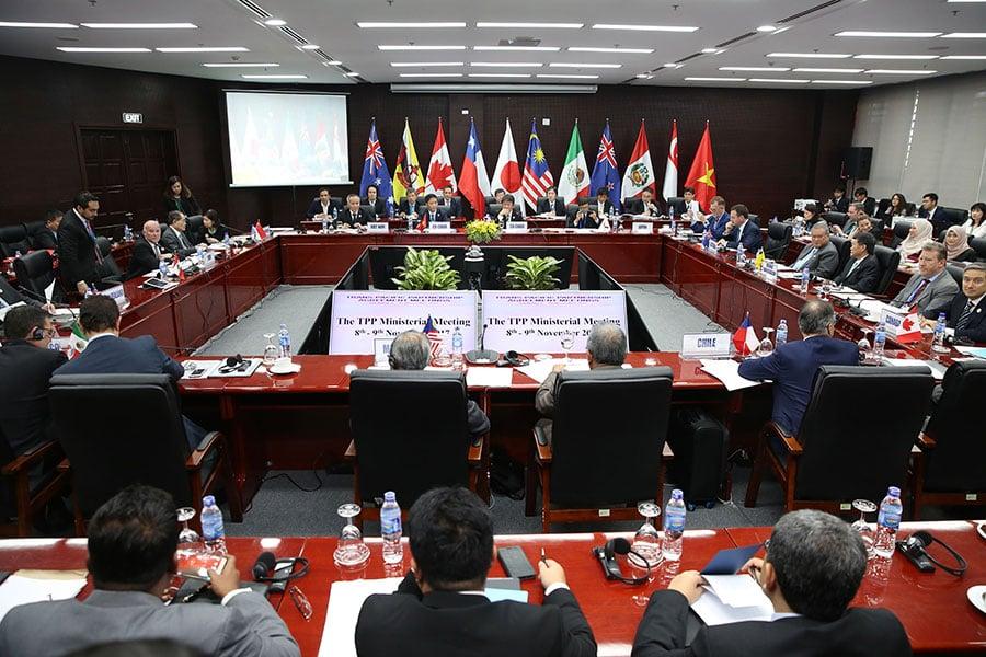 《跨太平洋夥伴協定》(TPP)11個成員國,星期四(11月9日)在越南召開貿易部長會議。(NA SON NGUYEN/AFP/Getty Images)