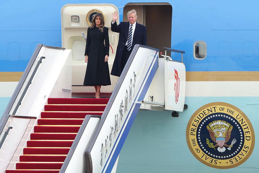 11月8日下午特朗普一行抵達北京,展開對中國的國事訪問。(Lintao Zhang/Getty Images)