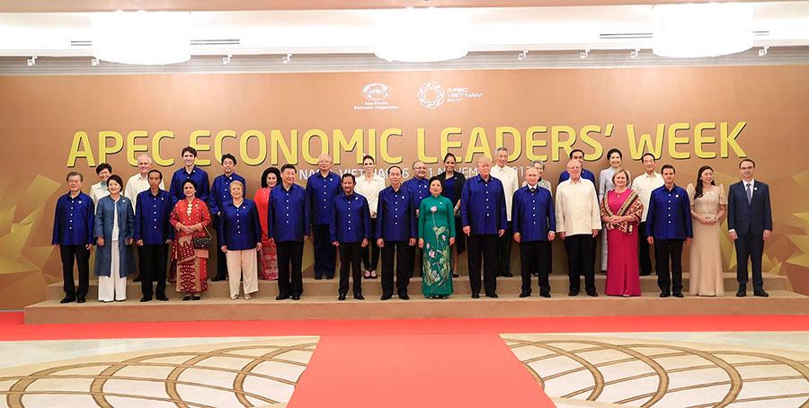 亞太經合會領袖峰會在越南峴港登場。(STR/AFP/Getty Images)