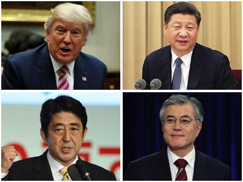 從左上至右下依次分別為美國總統特朗普、中國國家主席習近平、日本首相安倍晉三、南韓總統文在寅。(大紀元合成)