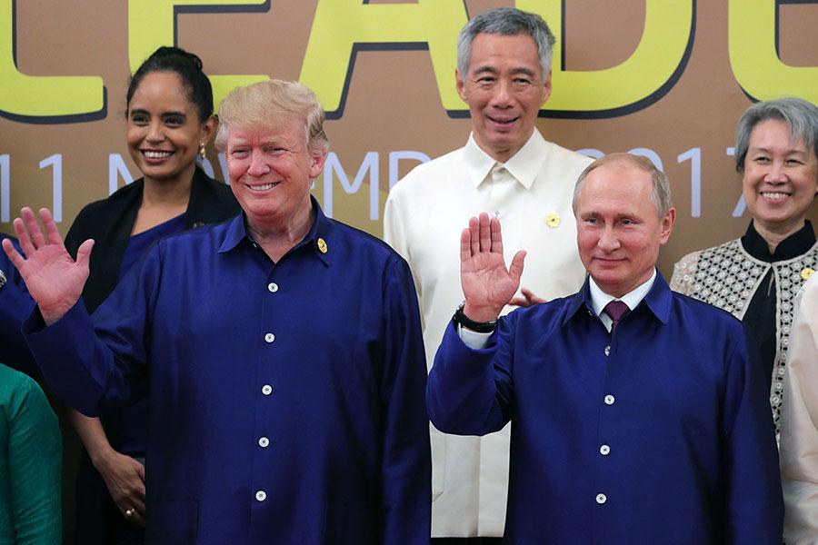 特朗普和普京參加APEC峰會。(MIKHAIL KLIMENTYEV/AFP/Getty Images)