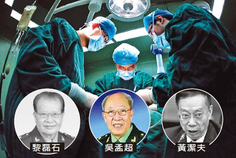 中共高官被曝換器官續命,青睞移植專家。(合成圖片)