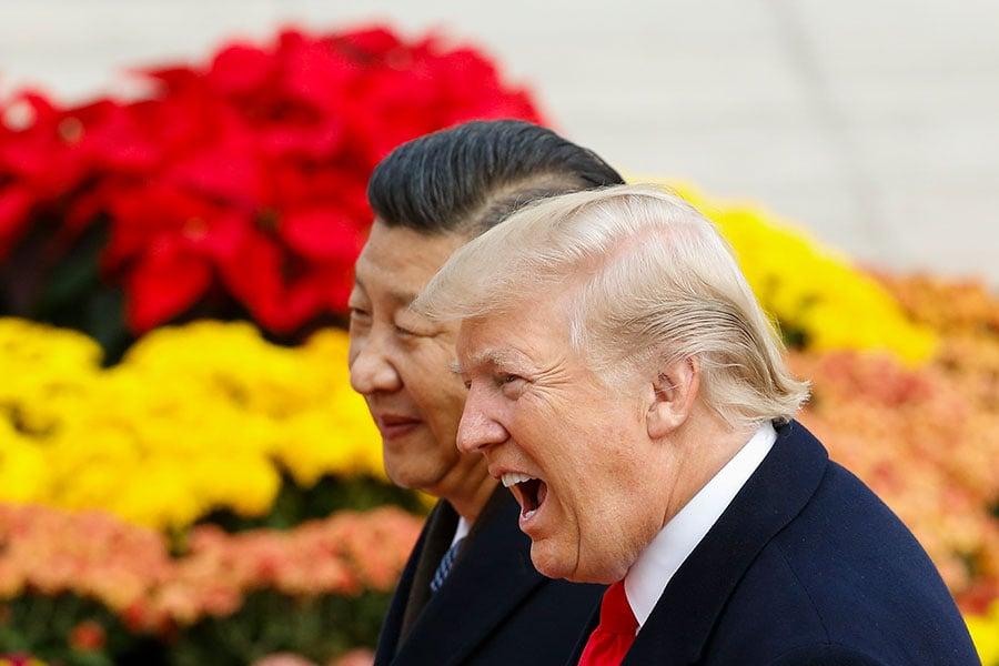 美國總統特朗普周六(11月11日)宣佈,中國國家主席習近平告訴他,北京打算實施新的對朝制裁。(Thomas Peter-Pool/Getty Images)