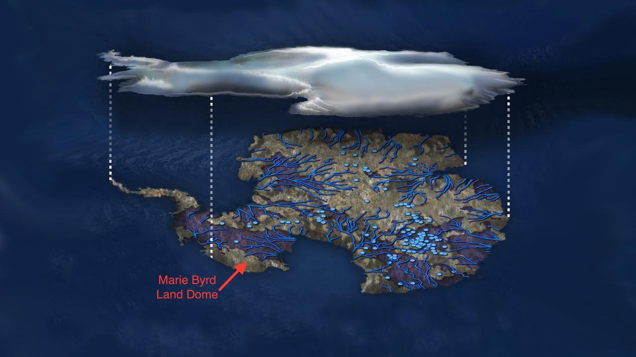 南極地熱的地理位置模式圖,可見地下的河流(深藍色線條)及湖泊(淺藍色小圓圈)。(NSF/Zina Deretsky)