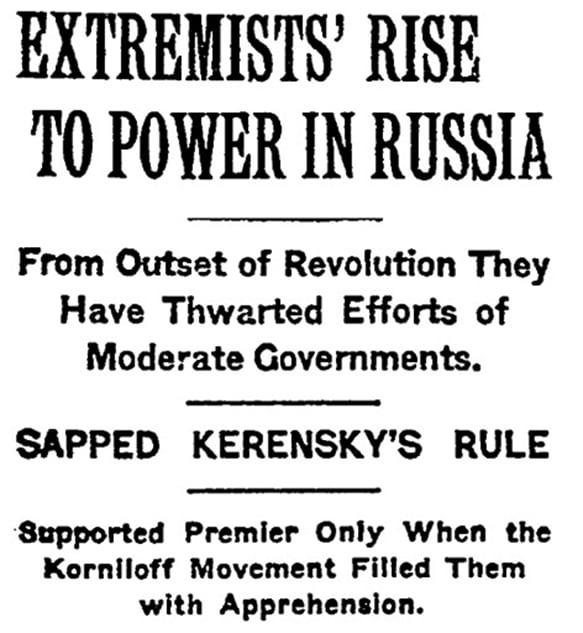 1917年11月9日《紐約時報》頭條。