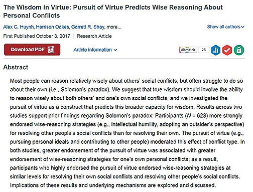 研究發現,當人注重道德,並且致力於發掘自己和別人最好的一面時,往往在處理問題時不帶偏見,智慧更大。此項研究發表在10月的《心理科學》雜誌上。(網頁截圖)